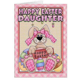 Daughter Easter Card - Easter Bunny & Easter Eggs