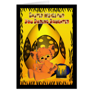 Daughter Easter Card, with Easter Cat Greeting Card