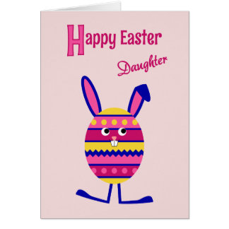 Daughter Easter egg bunny pink Card