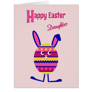 Daughter Easter egg bunny pink Big Greeting Card