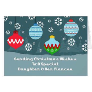 Daughter & Fiancee Vintage Ornaments Christmas Card