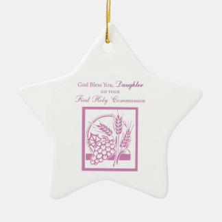 Daughter First Communion, Pink Ceramic Star Decoration