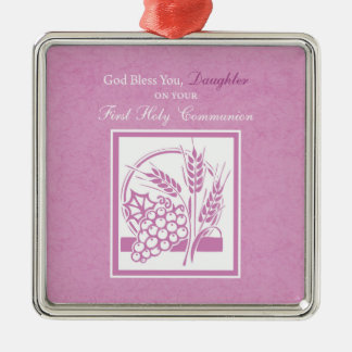 Daughter First Communion, Pink Christmas Ornament