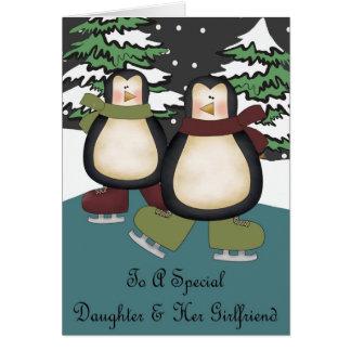 Daughter & Girlfriend Penguins Christmas Card