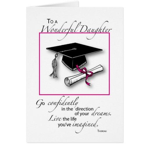 Daughter Graduation Pink Black Greeting Card