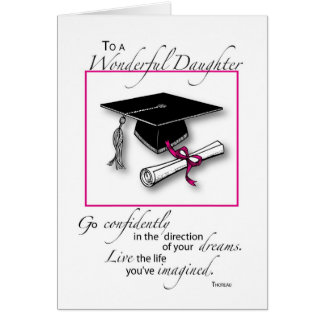 Daughter Graduation Pink Black Greeting Card