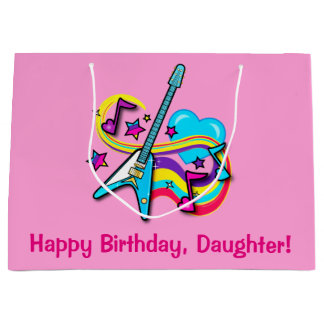 Daughter Guitar, Rainbow, Hearts Happy Birthday Large Gift Bag