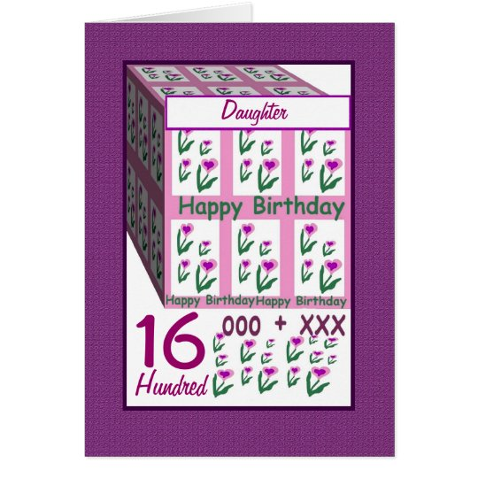 DAUGHTER - Happy 16th Birthday Greeting Card