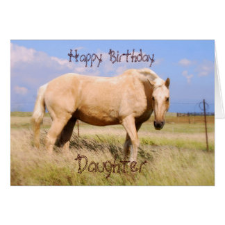 Daughter Happy Birthday Palomino Horse Card