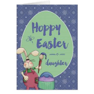 Daughter, Hoppy Easter Bunny Artist painting egg Greeting Card