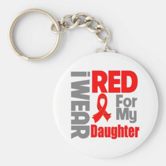 Daughter - I Wear Red Ribbon Basic Round Button Key Ring