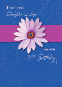 Daughter In Law 30th Birthday Daisy On Pink Purp Card