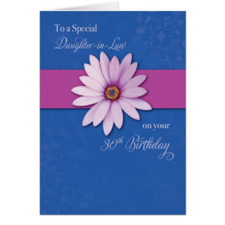 Daughter-in-Law 30th Birthday Daisy on Pink & Purp Card
