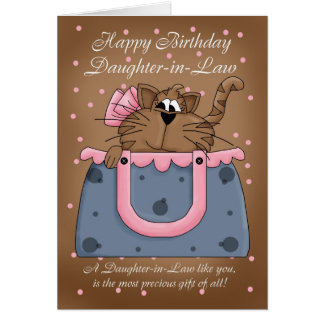 Daughter-in-Law Birthday Card - Cute Cat Purse Pet