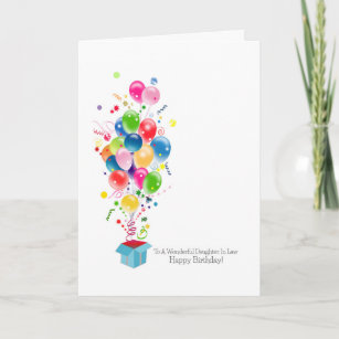 Daughter In Law Birthday Cards Colorful Balloons Card