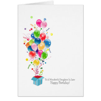 Daughter In Law Birthday Cards, Colourful Balloons Card