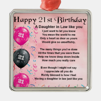 Daughter in Law Poem - 21st Birthday Silver-Colored Square Decoration