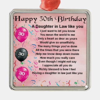 Daughter in Law Poem - 30th Birthday Silver-Colored Square Decoration