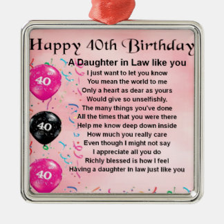 Daughter in Law Poem  -  40th Birthday Silver-Colored Square Decoration