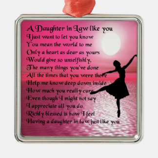 Daughter in Law Poem - Ballerina Silver-Colored Square Decoration