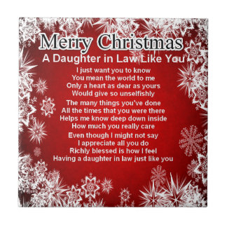 Daughter in Law Poem - Christmas Design Small Square Tile