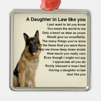 Daughter in Law Poem  - German Shepherd Silver-Colored Square Decoration
