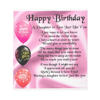 Daughter in Law Poem -  Happy Birthday Notepad