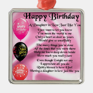 Daughter in Law Poem -  Happy Birthday Silver-Colored Square Decoration