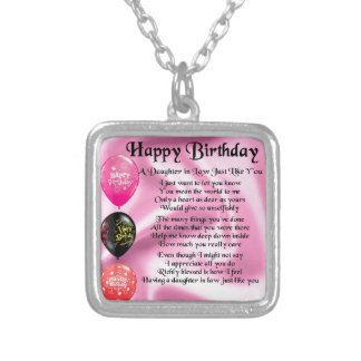 Daughter in Law Poem -  Happy Birthday Silver Plated Necklace