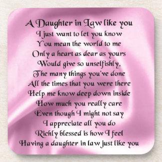 Daughter in Law Poem - Pink Silk Coaster