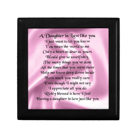 Daughter in Law Poem - Pink Silk Gift