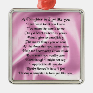 Daughter in Law Poem - Pink Silk Silver-Colored Square Decoration