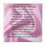 Daughter in Law Poem - Pink Silk Small Square Tile