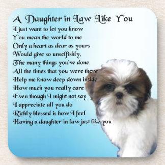 Daughter in Law Poem - Shih-Tzu Design Drink Coaster
