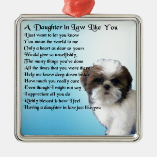 Daughter in Law Poem - Shih-Tzu Design Silver-Colored Square Decoration