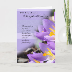 Daughter In Law Purple Crocus Birthday Card