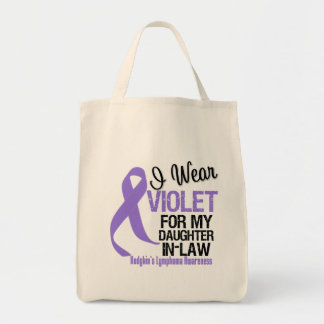 Daughter-in-Law Violet Ribbon Hodgkins Lymphoma Grocery Tote Bag