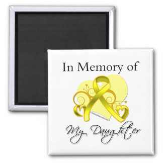 Daughter - In Memory of Military Tribute Square Magnet