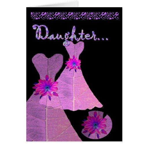 DAUGHTER - Junior Bridesmaid Invitation PINK Gown Greeting Card