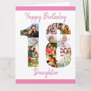 Daughter Number 18 Photo Collage Big 18th Birthday Card