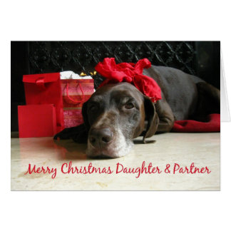 Daughter & Partner merry christmas pointer and gif Card