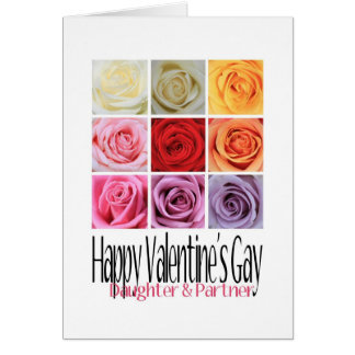Daughter Partner Valentine's Gay, Rainbow Roses Greeting Card