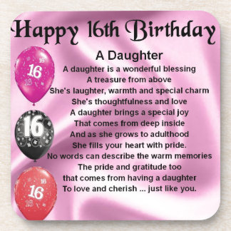 Daughter Poem  16th Birthday Coaster