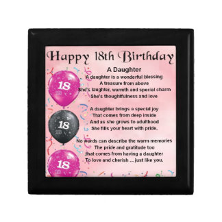 Daughter Poem - 18th Birthday Small Square Gift Box