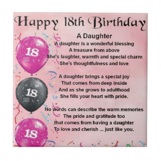 Daughter Poem - 18th Birthday Tile