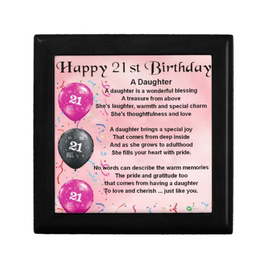 Daughter Poem 21st Birthday Gift Box