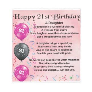 Daughter Poem 21st Birthday Notepads