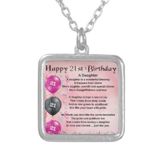 Daughter Poem 21st Birthday Silver Plated Necklace