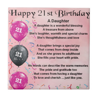 Daughter Poem 21st Birthday Small Square Tile