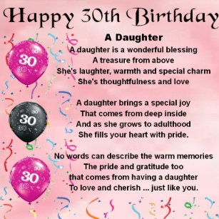 Daughter Poem 30th Birthday Gift Box